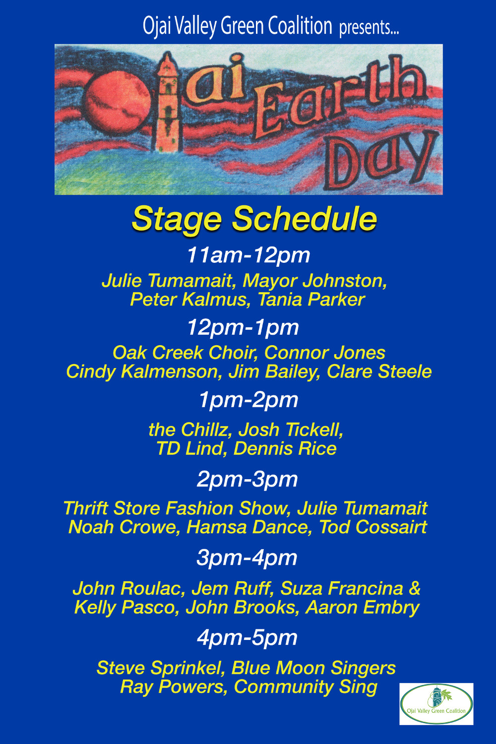 Main stage schedule for Ojai Earth Day 2018