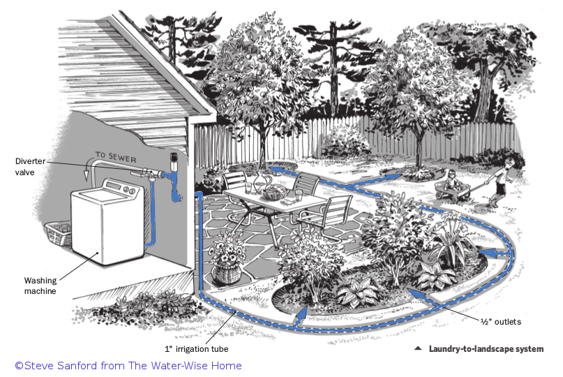 Greywater diagram by Steve Sanford from the Water-Wise Home